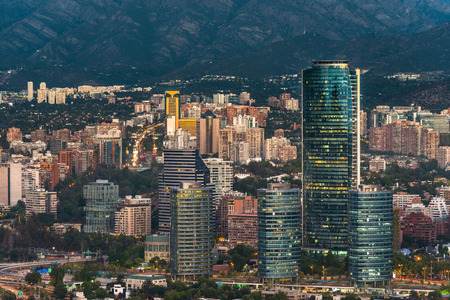 comuna: Skyline of Santiago de Chile with modern office buildings at financial district in Las Condes.