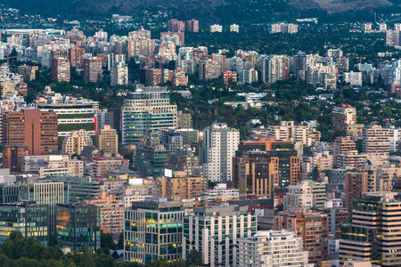 comuna: View of buildings at Providencia and Las Condes districts, the most dense part of the city with residential and office buildings, Santiago de Chile