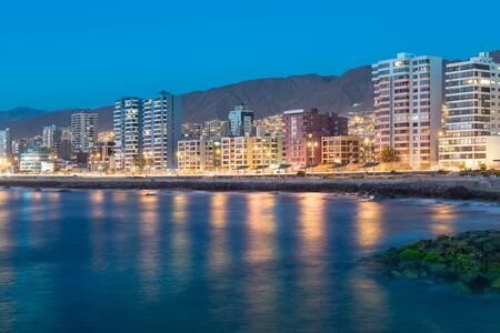 northern light: Panoramic view of the coastline of Antofagasta, know as the Pearl of the North and the biggest city in the Mining Region of northern Chile