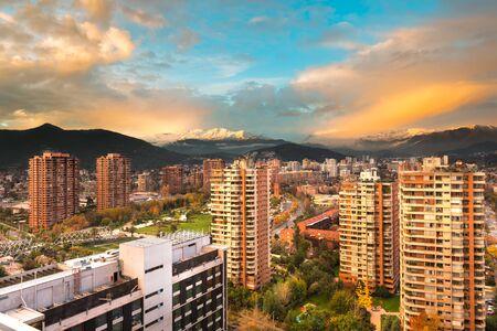 Skyline of buildings at a wealthy neighborhood in Las Condes district, Santiago de Chile Stock Photo