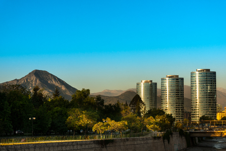 Santiago, Region Metropolitana, Chile - December 27, 2016: Skyline of the financial district in Santiago popularly know as Sanhattan, with buildings of Titanium Park.