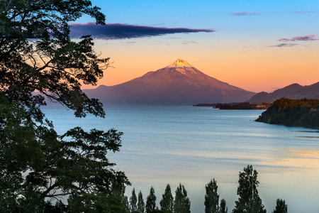 lake district: View of Osorno Volcano and Lake LLanquihue the the lake district in sourthern Chile