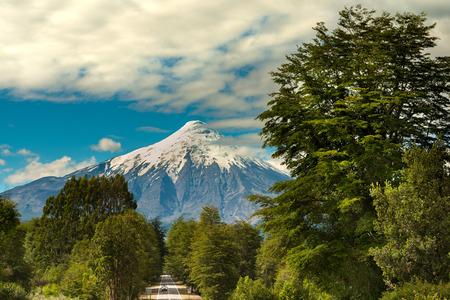 Osorno Volcano and Road at Reserva Nacional LLanquihue, Chile