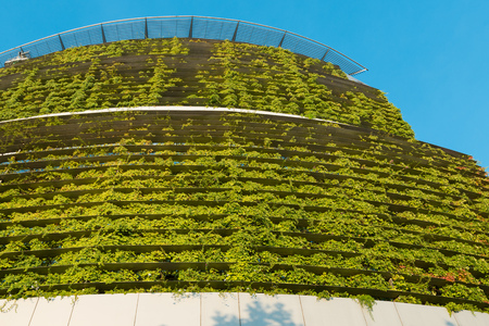 Santiago, Region Metropolitana, Chile - January 17, 2017: The Consorcio building, the first building with a green ecological façade in Chile, located in Las Condes district.