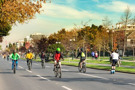 Santiago, Region Metropolitana, Chile - May 21, 2017: The project Recycle Cycle Via, an initiative where all Sundays, some streets of the city are closed to cars and only exclusively to bicycles. Sajtókép