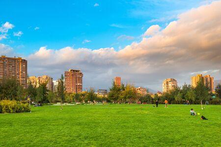 Santiago, Region Metropolitana, Chile - May 13, 2017: View of Parque Juan Pablo II, the extension of Parque Araucano, forming the mayor urban public park in Las Condes district, surrounded by apartment buildings.