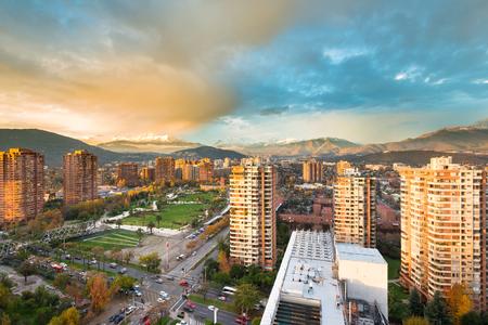 Skyline of buildings around Juan Pablo II park at a wealthy neighborhood in Las Condes district, Santiago de Chile Stock Photo