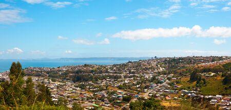Panoramic view of the city of Tome, Bio Bio region, Chile