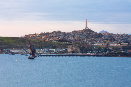 Panoramic view of Coquimbo and the Third Millennium Cross on top of the El Vigia hill.