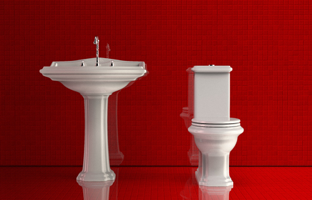 3D render of an elegant bathroom with red walls