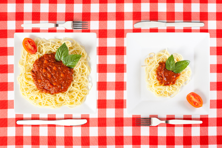 Contrasting large and tiny food portions of Spaghetti