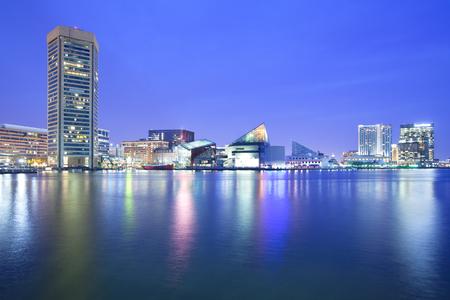 Downtown city skyline and Inner Harbor, Baltimore, Maryland, USA