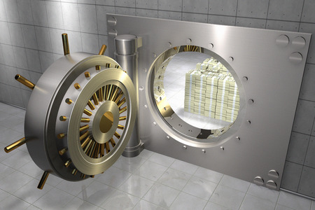 3D render of a bank vault with stack of 100 dollar bills inside Stockfoto