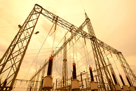 Electric substation in South America Stock Photo