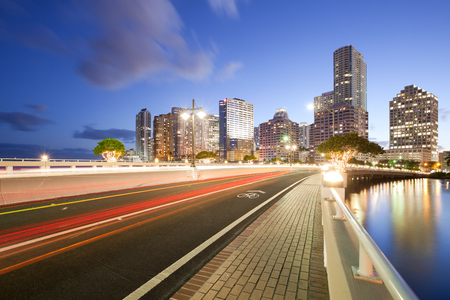 Brickell Key Drive and buildings at Brickell district, Miami, Florida, USA Stock Photo