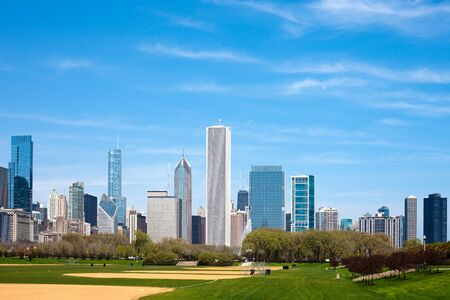 Hutchinson Athletic Field at Grant Park, Downtown, Chicago, Illinois, USA Stock Photo