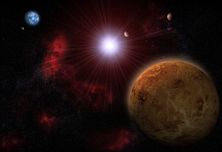 3D render of The Solar system with Venus, Mercury, The Earth, The Moon and Mars