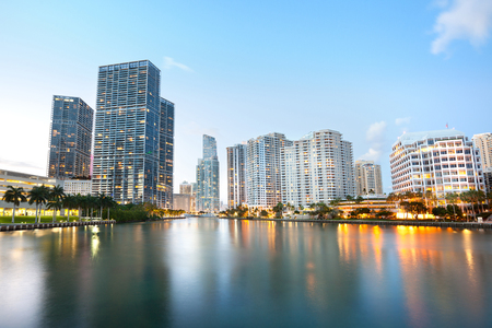 Downtown and real estates developments at Brickell Key, Miami, Florida, USA Stock Photo