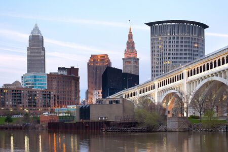 Downtown skyline of the city of Cleveland, Ohio Imagens