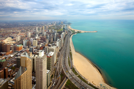 Aerial view of  North Chicago and Lake Michigan, Illinois, USA