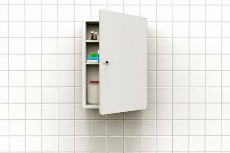 3D-Rendering eines Medizin Schrank mit offener Tür auf einer gefliesten Wand