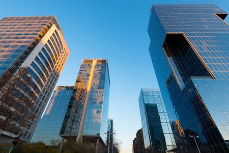 Office buildings at financial district known as Nueva Las Condes in Rosario Norte Street, Las Condes, Santiago de Chile Stok Fotoğraf