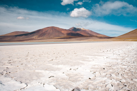 Tuyajto lagoon and salt lake in the Altiplano (high Andean plateau) over 4000 meters over the sea level with salt crust in the shore, Los Flamencos National Reserve, Atacama desert, Antofagasta Region, Chile, South America Reklamní fotografie