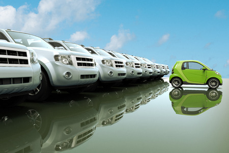 3D rendering of small, eco friendly car in front of a row of large cars Zdjęcie Seryjne