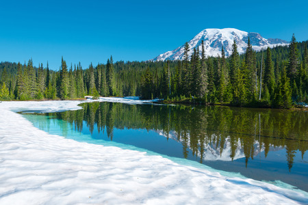 Reflection Lake and  Mount Rainier at Mount Rainier National Park, Washington State, USA