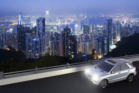 3D rendering of a SUV on motion with Hong kong skyline on the back