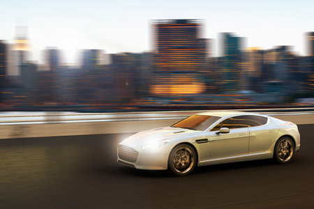 3D rendering of a luxury car in motion in front of Manhattan skyline, New York City, New York, USA Banco de Imagens