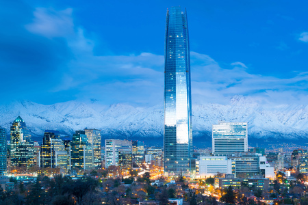Skyline of financial district in Las Condes with Los Andes Mountains in the back, Santiago de Chile