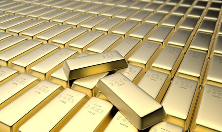 3D rendering of 24 karat gold bars in a vault Stockfoto