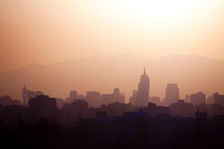 Skyline of downtown Santiago de Chile at sunset