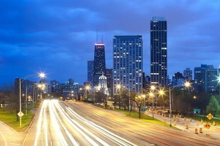 Traffic on Lake Shore Drive, Chicago, Illinois, USA Editorial