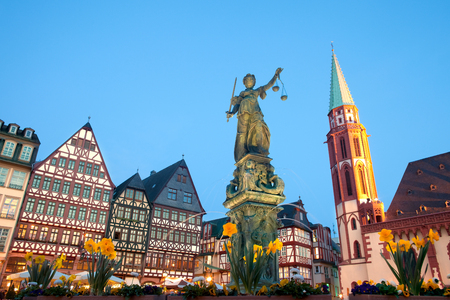 Scales of Justice at Romerberg square, the old town center, and the Romer, with the Old Nikolai Church, Frankfurt, Hesse, Germany