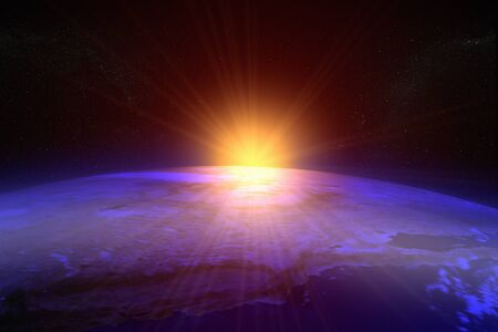 3D rendering of a sunset  sunrise from space