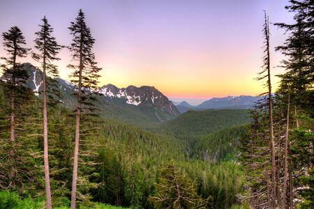 Panoramic view of Mount Rainier National Park, Washington State, USA Stock Photo
