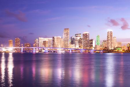 Downtown skyline of the city of Miami, Florida, USA Stock Photo