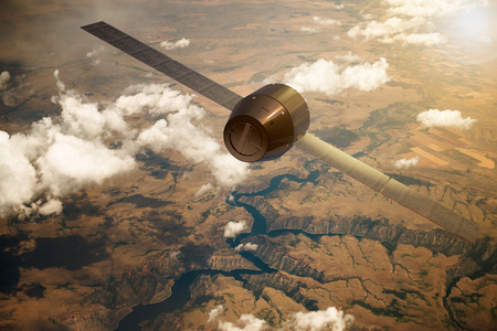 3D rendering of a satellite orbiting the earth