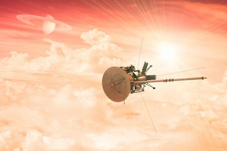 3D rendering of an unmanned spacecraft entering the atmosphere of a distant planet Stock Photo