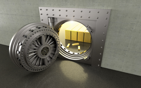 3D rendering of a bank Vault with gold bars inside Banco de Imagens