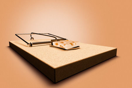 3D rendering of a mouse trap  with cheese