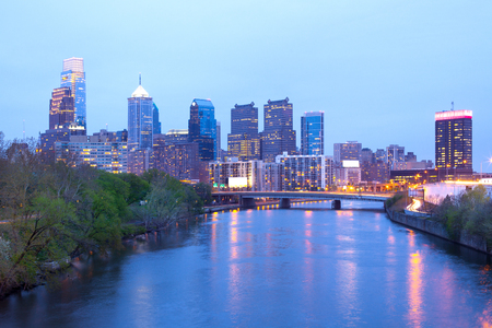Schuylkill River and city skyline, Philadelphia, Pennsylvania, USA