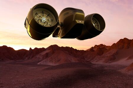 3D rendering of a Space cargo ship landing on Mars 스톡 콘텐츠