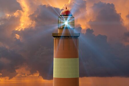 3D rendering of a lighthouse against  a sunset Stok Fotoğraf