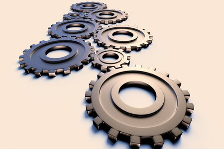 3D rendering of industry and engineering concept representation through a set of cogwheels