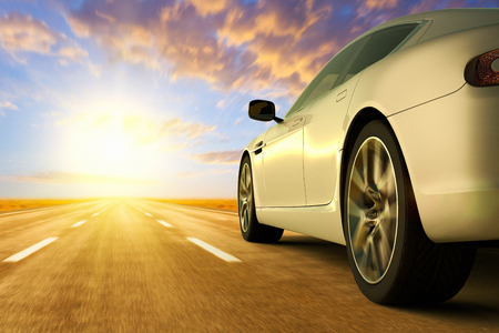 3D rendering of a low angle view of car on motion on the road