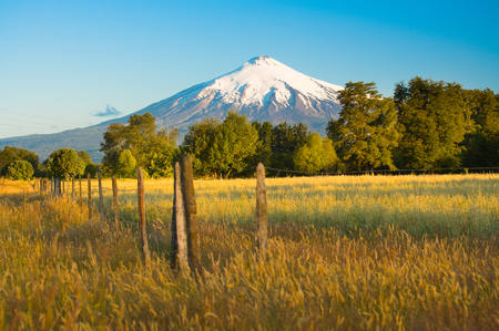 Vulcano Villarrica nella regione dell'Araucania nel sud del Cile, Sud America Archivio Fotografico