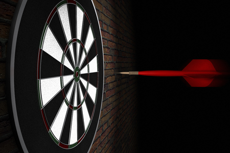 3D rendering of a dart flying straight to bullseye